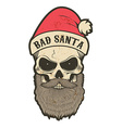 bad santa skull vector image vector image