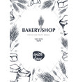 bakery background with wheats linear graphic vector image vector image