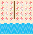 beach stuff with deckchair and sea set vector image vector image