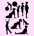 beautiful pregnant woman silhouette vector image vector image