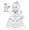 beautiful young princess and big frog vector image vector image