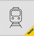 black line train and railway icon isolated on vector image vector image