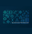 blockchain technology blue line horizontal vector image vector image