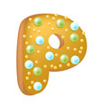 cartoon donut letters p hand vector image vector image