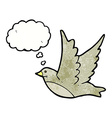 cartoon flying bird with thought bubble vector image vector image