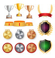 ceremony winner honor prize trophy awards cups vector image vector image