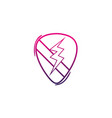color line rock emblem with thunder symbol design vector image vector image