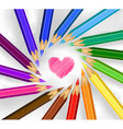colored pencils in a circle with heart vector image