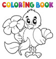 coloring book chicken with flower vector image vector image