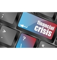 financial crisis key showing business insurance vector image vector image