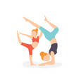 flat mom and daughter fitness vector image