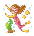 Girl swimming under water with fish vector image vector image