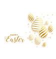 golden easter day eggs festival background design vector image