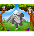 gorilla and monkey in the jungle vector image vector image