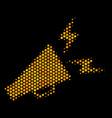 hexagon halftone alert megaphone icon vector image
