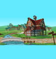 horizontal seamless background - village vector image