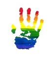 Human grunge rainbow gouache handprint vector image
