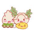 kawaii tempura peas dumpling and food japanese vector image vector image