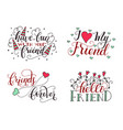 Lettering set for friendship day handdrawn