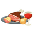 meat leg pear and red wine renaissance traditional vector image vector image