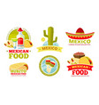 mexican salsa food restaurant badges vector image vector image