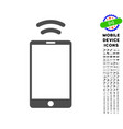 mobile irda signal icon with set vector image vector image