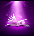 mystery open book fantasy book with magic light vector image vector image