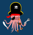 pirate octopus monster invader devilfish in vector image