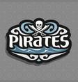 pirate skull and cross bones logo vector image vector image
