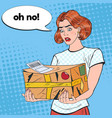 pop art disappointed woman holding damaged parcel vector image vector image