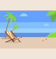 recliner under tall palms at empty sandy beach vector image vector image