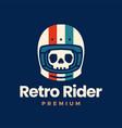 retro skull helmet rider motorcycle club logo icon vector image vector image