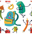 school supplies seamless pattern endless vector image vector image