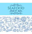 seamless border with seafood vector image