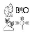 set ecology conservation and environment care vector image