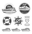set nautical logos vector image vector image