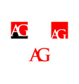 set of initial letter ag logo template design