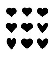set of various black heart icons vector image