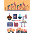 set oil products drilling well swinging with rod vector image vector image