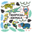 set tropical animals vector image vector image