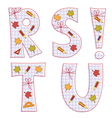 sheet alphabet letter r s t u vector image