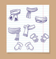 sketch of winter mittens and scarves vector image vector image