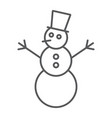 snowman thin line icon christmas and winter vector image