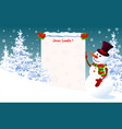 snowman with a letter for santa vector image vector image