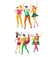 sport fans with flags hats and pipe or megaphone vector image