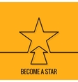 Star Concept Line On Yellow Background vector image vector image