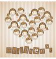 sticker childrens heads in heart vector image