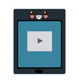 tablet touch with video player on the screen vector image