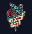 tattoo salon vintage colorful badge vector image vector image
