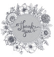 thank you card with hand drawn flowers leaves and vector image vector image